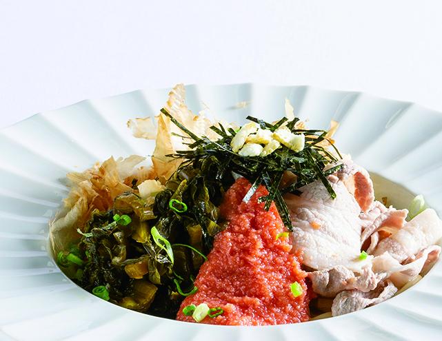 ゆず香る高崎産豚肉とめんたい高菜の和風生パスタ