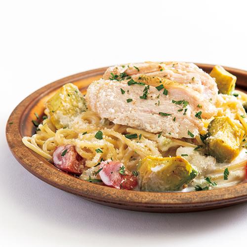 赤城鶏の鶏ハムとほんのり山葵のクリームソース